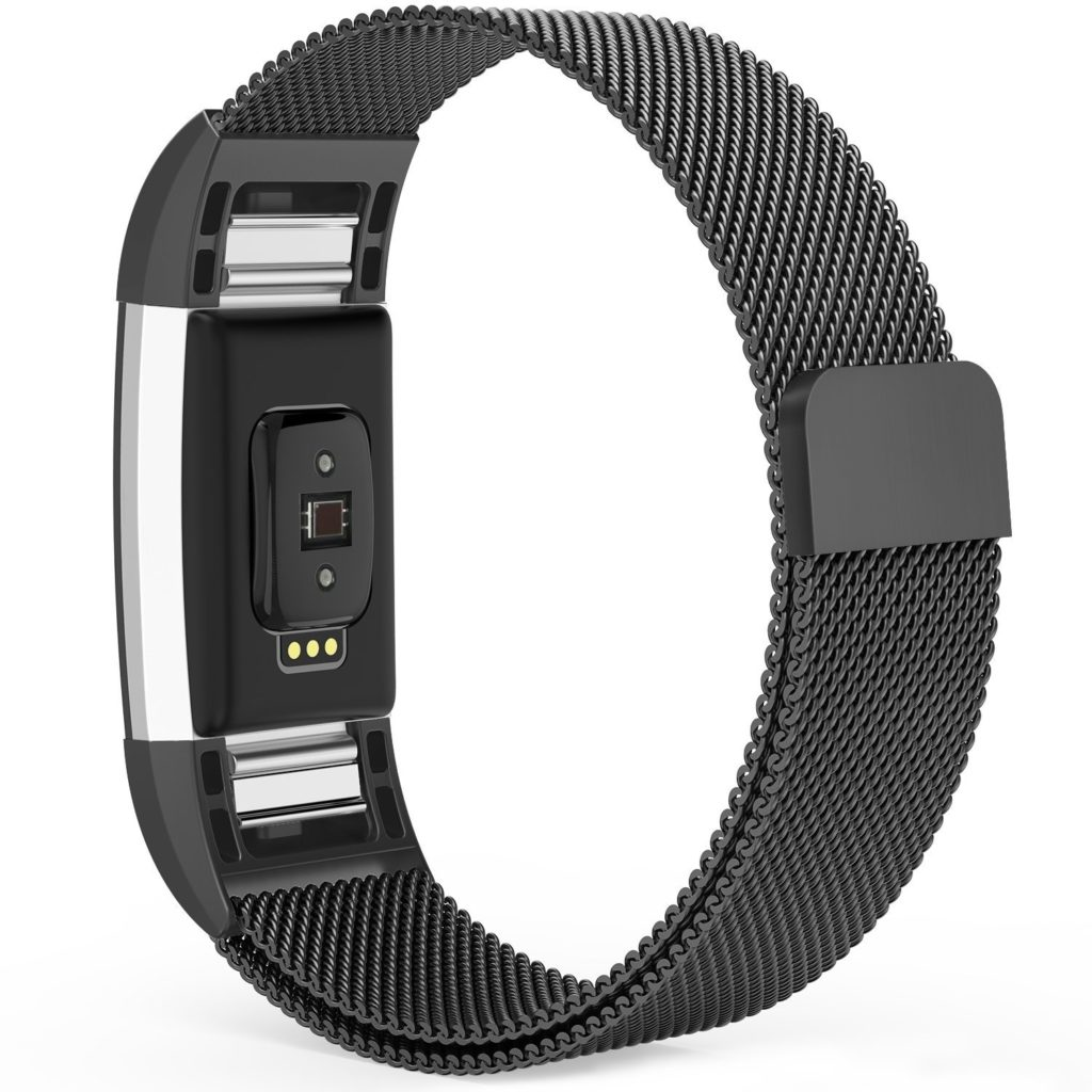 Fitbit Charge 2 & Charge 2 HR Milanese Metal Replacement Strap (Black)