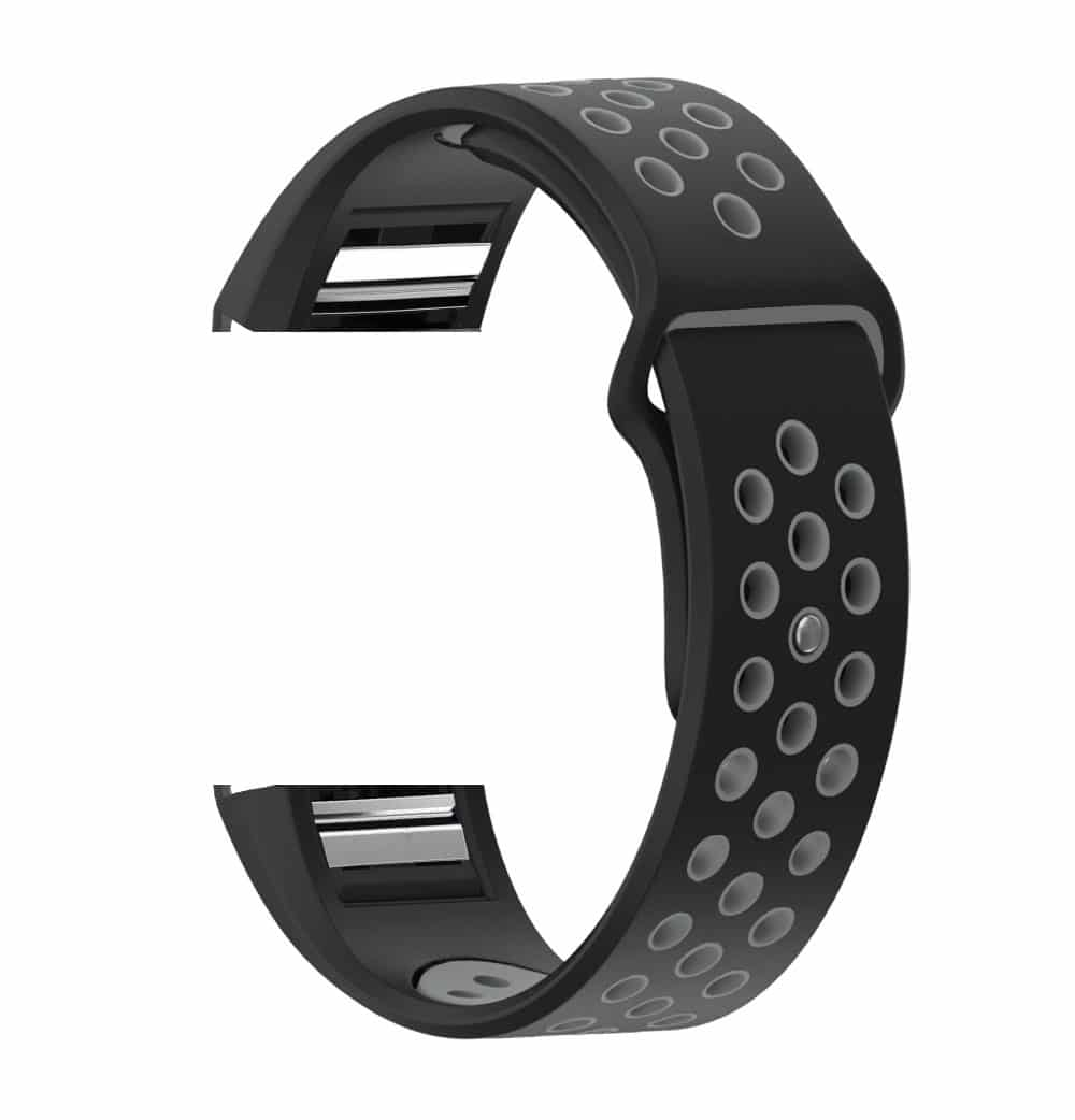 Fitbit Charge 2 & Charge 2 HR Sport Silicon Replacement Strap (Black Grey)  - Large